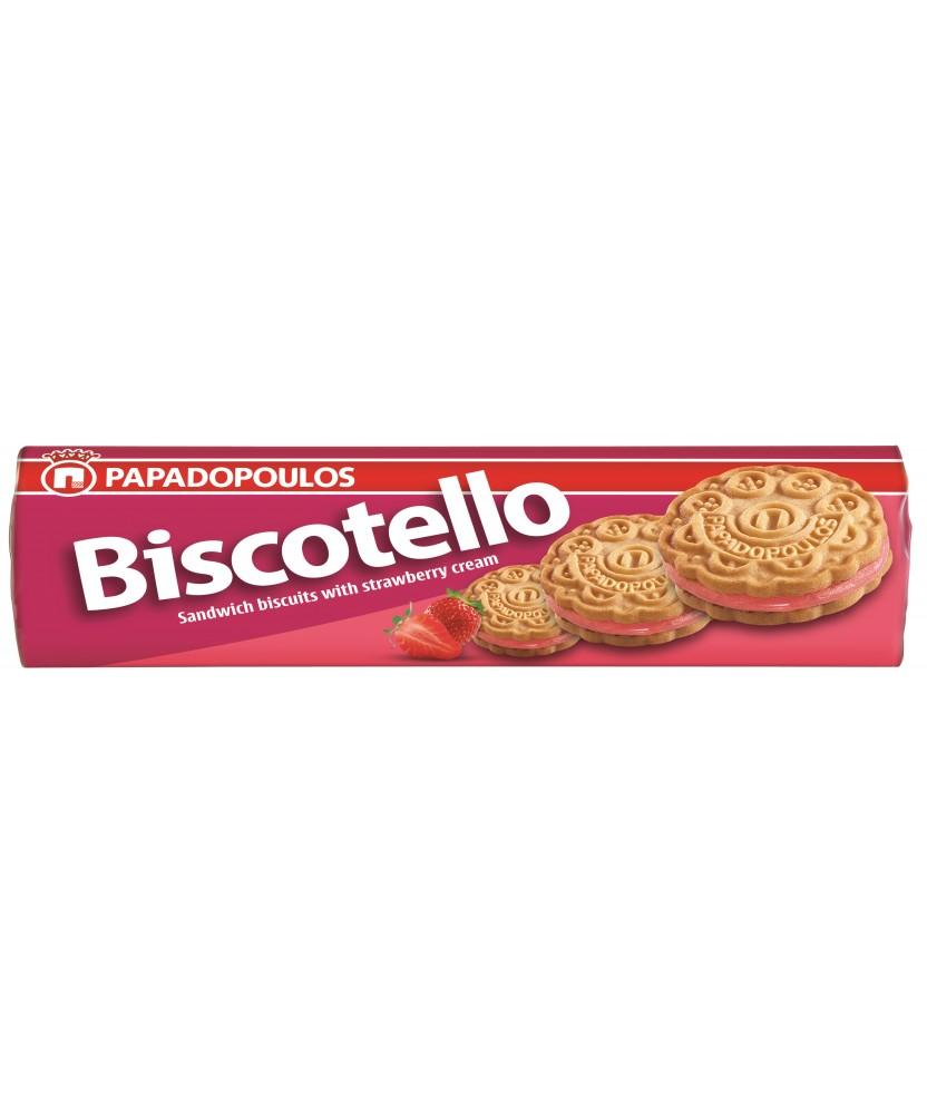 2146 Papadopoulos S.A.  Biscotello Doppelkeks mit Erdbeercremefüllung
